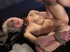 Submissive slut assfucked and jizzed in mouth