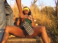 Busty African slut with blindfold getting her nipples
