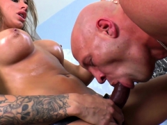 Busty mistress chokes sub while pegging him