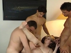 Pregnant milf banged by three guys