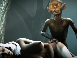 Gollum finds a slut in the forest and bangs her