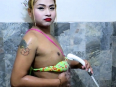 Amateur Ladyboy Chan Shower And Jerking Off