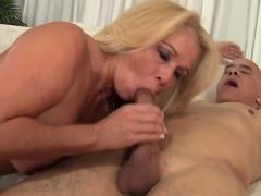 Blonde Mature Slut Gets Undressed By A Bald Guy He Kisses