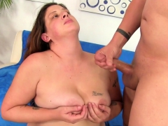Chubby milf gives a nice blowjob before taking the dick in