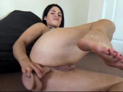 Busty brunette anal solo masturbation