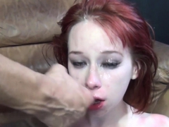 redhead babe gets her sweet face fucked