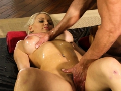 Blonde with BIg Tits gets rubdown