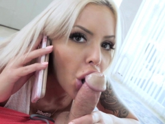 Nina Elle deep throat blowjob her stepsons fresh huge cock