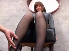 Horny studs completely mistreating young bitch in the office