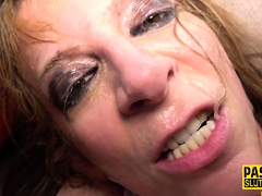 Mature busty submissive gets throated