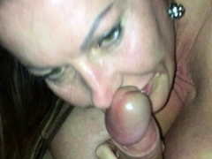 Amateur housewife blowjob and handjob with cumshot