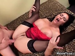 Amazing big boobed MILF after dick swallowing she received