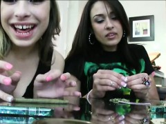 Three naughty teens weed party and orgy with lucky dude