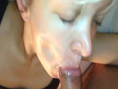 Slut gets fucked in mouth and ass ends with facial