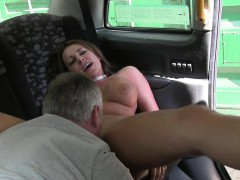 Huge tits British milf banged in fake taxi