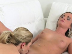 Blonde female agent eats pussy