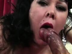 Big boobs BBW lady Amanda eats cum after good sex