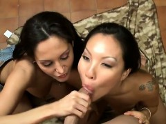 Asa Akira And Friend Take Lucky Guys Load